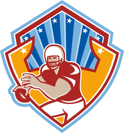 quarterback: Illustration of an american football gridiron quarterback player throwing ball facing front set inside crest shield with stars and sunburst done in retro style.