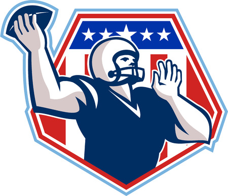 Illustration of an american football gridiron quarterback player throwing ball facing side set inside crest shield with stars and stripes flag done in retro style. Vector