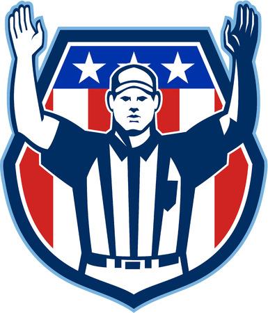 Illustratie van een American Football officiële scheidsrechter met de hand naar boven voor een touchdown naar de voorkant set binnen kam schild met sterren en strepen vlag gedaan in retro stijl.