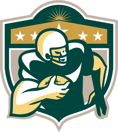 scat: Illustration of an american football gridiron wide receiver running back player running with ball facing side set inside shield with stars done in retro style on isolated background.