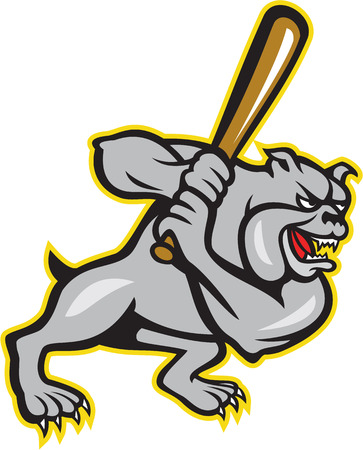 バッティングのブルドッグの雑種犬野球プレーヤー打者打者のイラストは、白い背景で隔離の漫画のスタイルで行われて星とダイヤモンドの形の内