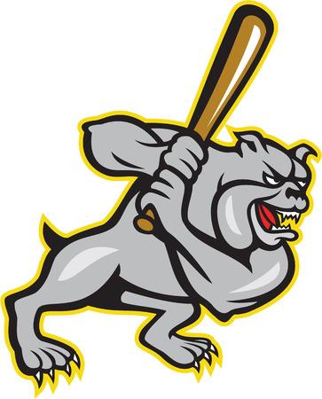 Illustratie van een bulldog bastaard hond honkbalspeler beslag hitter het slaan van opzij gezien set binnen diamantvorm met sterren gedaan in cartoon stijl op een witte achtergrond. Stock Illustratie