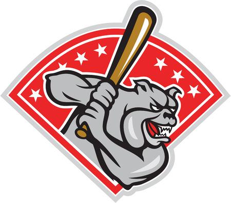 baseball diamond: Ilustraci�n de un bulldog jugador de b�isbol bateador bateador bateo visto desde el lado establece dentro de la forma del diamante con las estrellas hecho en estilo de dibujos animados sobre fondo blanco.