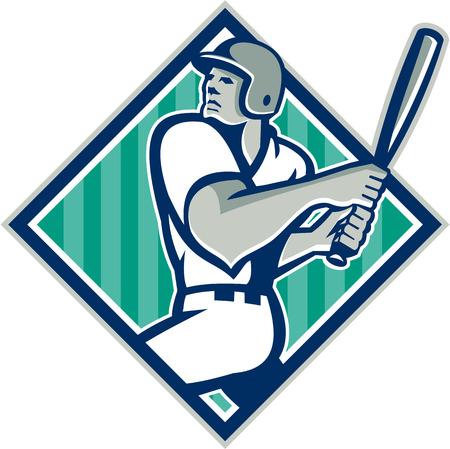 baseball diamond: Ilustraci�n de un jugador de b�isbol americano bateador bateador conjunto de bateo en el interior en forma de diamante con las estrellas y las rayas hecho en estilo retro aislado sobre fondo blanco.