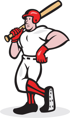 Illustration of a american baseball player batter hitter holding bat on shoulder standing facing front done in cartoon style isolated on white background.