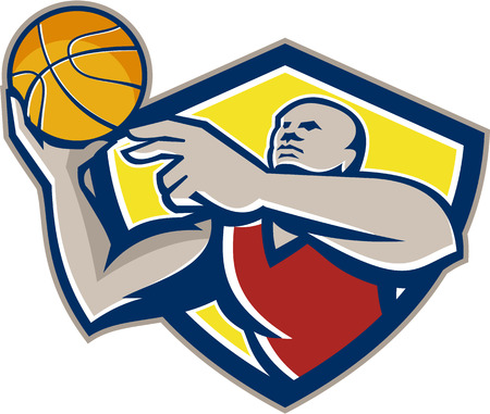 rebounding: Illustration of a basketball player rebounding lay up ball set inside shield crest done in retro style.