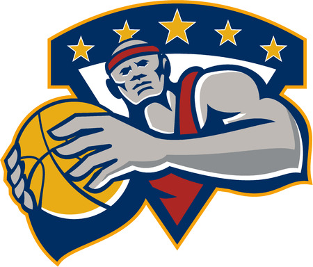 layup: Illustration of a basketball player holding ball facing front set inside shield crest done in retro style on isolated background.
