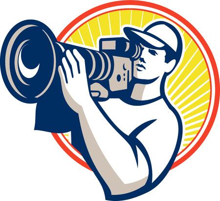 흰색 배경에 격리 된 복고 스타일을 이루어 원 안에 HD 비디오 영화 카메라 세트 촬영 카메라맨 필름 승무원의 그림입니다. 일러스트