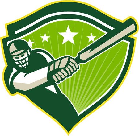 bateo: Ilustraci�n de un jugador de cricket bateador bateo con el bate hacia delante conjunto dentro del escudo con estrellas hechas en estilo retro.