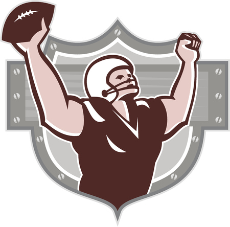 scat: Illustration of an american football gridiron wide receiver running back player running with ball facing side celebrating touchdown set inside shield done in retro style set inside ball .
