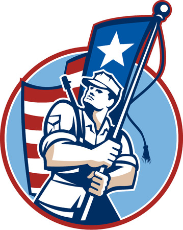 military background: Illustration of an American patriot solider military serviceman looking up holding a USA stars and stripes flag in background set inside circle.