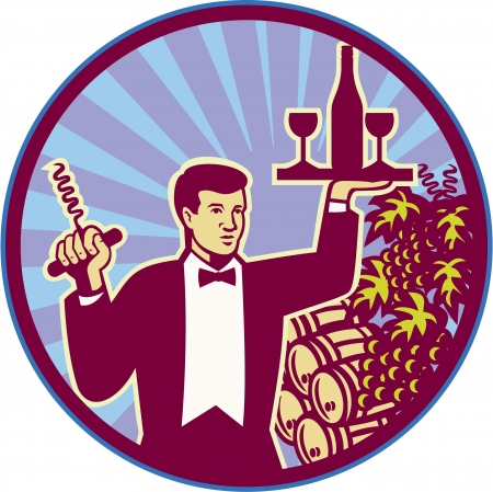 barkeeper: Retro style illustration of a waiter serving carrying wine glass and bottle on one hand and corkscrew on the other with wine barrels and grape vine in background set inside circle.
