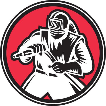visor: Illustration of a sandblaster worker holding sandblasting hose wearing helmet visor set inside circle shape done in retro woodcut style. Illustration