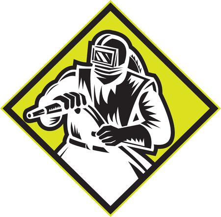 visor: Illustration of a sandblaster worker holding sandblasting hose wearing helmet visor set inside diamond shape done in retro style.