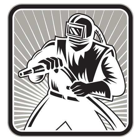 Illustration of a sandblaster sand blaster worker holding sandblasting hose wearing helmet visor set inside square shape done in retro woodcut style.