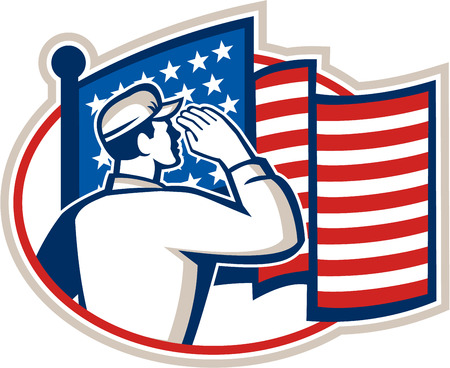 infantry: Illustration of an American soldier serviceman saluting USA stars and stripes flag viewed from rear set inside oval done in retro style.