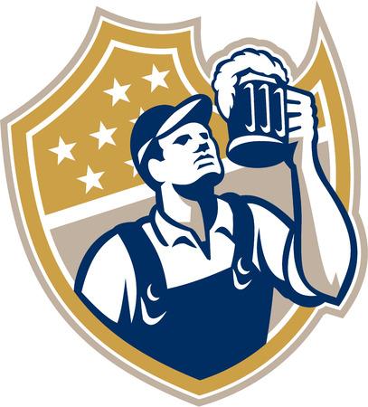 barman: Illustration of a barkeep, barkeeper, barperson, barman, barmaid, bar attendant, or taberneiro worker drinking raising beer mug looking up set inside shield done in retro style. Illustration