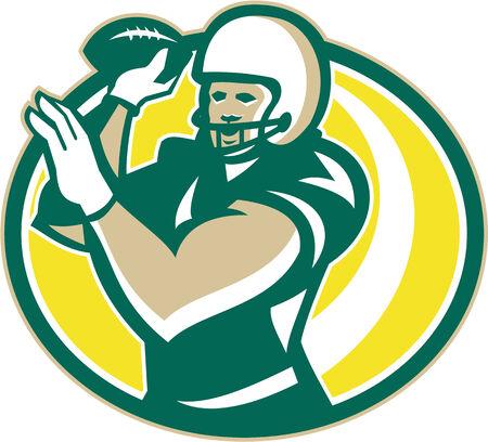 gridiron: Ilustraci�n de un campo de juego de f�tbol americano QB mariscal jugador que pasa bola que lanza hacia delante conjunto dentro del �valo hecho en estilo retro