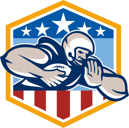 running back: Illustration of an american football gridiron running back player running with ball facing front fending off with arm set inside USA stars and stripes crest shield done in retro style