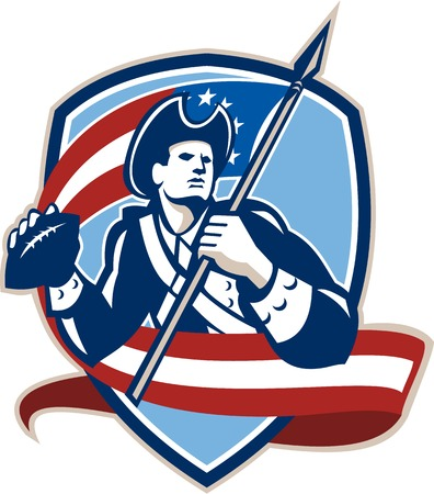 Illustration of an american patriot soldier football gridiron quarterback passing ball facing side carrying stars and stripes flag set inside crest shield done in retro style