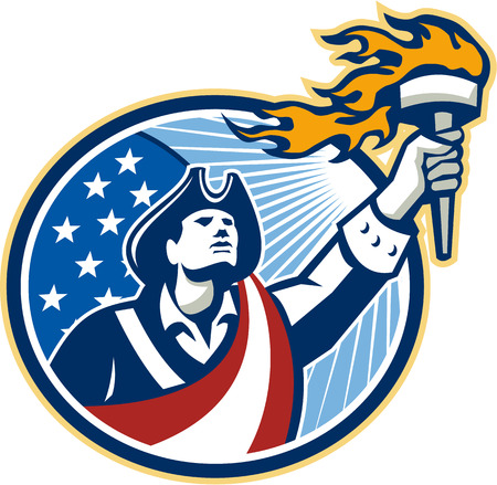 Illustration of an American Patriot holding a flaming torch looking up set inside oval with USA stars and stripes flag on isolated white background