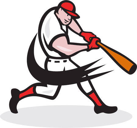 hitter: Illustration of a american baseball player batter hitter batting with bat done in cartoon style isolated on white background