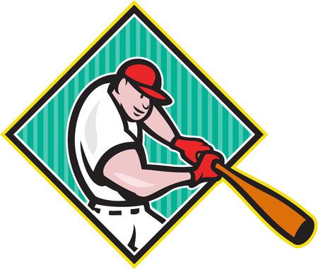 baseball diamond: Ilustraci�n de un jugador de b�isbol americano bateador bateador bateo con el bate en el interior de la forma del diamante hecho en estilo de dibujos animados aislado en el fondo blanco Vectores