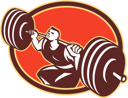 Illustration of cross-fit weightlifter lifting heavy barbells