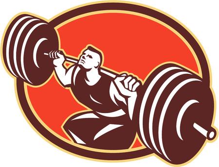 Illustration von Cross-fit Gewichtheber Heben schwerer Hanteln