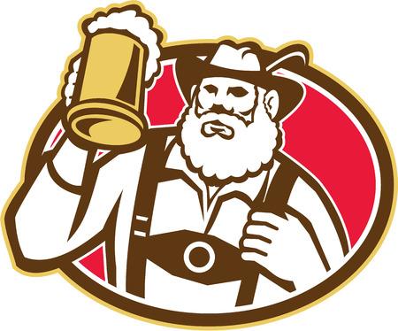 oval  alcohol: Illustration of a Bavarian beer drinker raising beer mug drinking looking up wearing lederhosen and German hat set inside oval done in retro style  Illustration