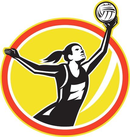 rebounding: Illustration of a netball player catching rebounding ball set inside oval on isolated white background  Illustration