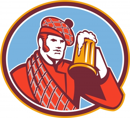 drinker: Illustration of a Scotsman Scottish beer drinker raising beer mug drinking looking up wearing tartan and beret hat set inside oval done in retro style