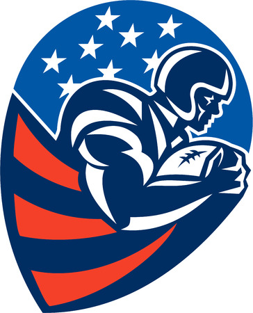 running back: Illustration of an american football gridiron rushing running back player running with ball facing side set inside shield shape done in retro style.