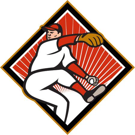 baseball diamond: Ilustraci�n de un jugador de b�isbol americano jardinero lanzador lanzar pelotas aisladas sobre fondo blanco situada en el interior en forma de diamante.