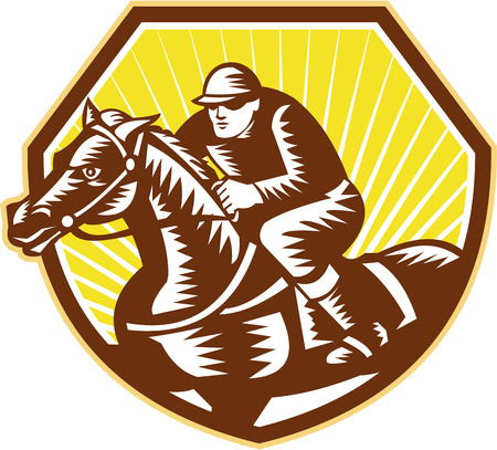 woodcut: Illustration of thoroughbred horse racing and jockey set inside crest shield on isolated white background done in retro woodcut style.
