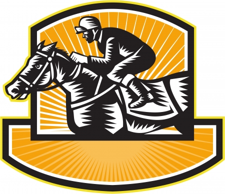 thoroughbred: Illustration of a horse and jockey thoroughbred racing viewed from side set inside shield crest on isolated white background done in retro woodcut style. Illustration