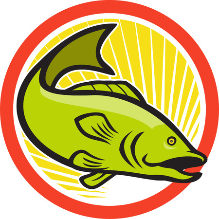 largemouth bass: Illustration of a largemouth bass fish jumping done in cartoon style on isolated white background set inside circle