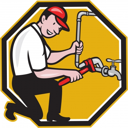Illustration of a plumber with monkey wrench repairing faucet tap pipe done in cartoon style on isolated background. Vector
