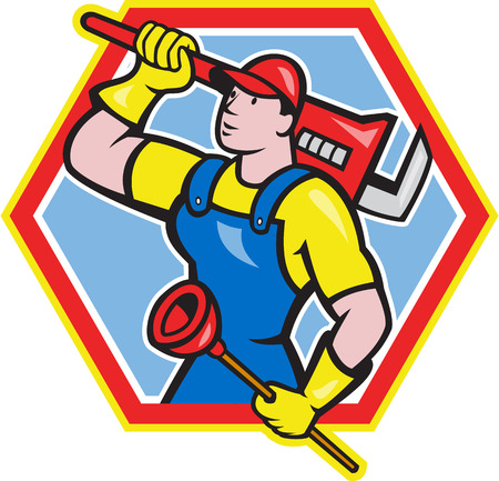 Illustration of a plumber holding carrying monkey wrench on shoulder and holding plunger done in cartoon style on isolated background set inside hexagon Vector