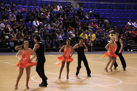 baller: AUCKLAND-August 18: Dancers performing at the PBA Basketball Legends play exhibition game against Auckland local basketballers at Trusts Stadium Arena in Waitakere, Auckland, New Zealand on Saturday August 18, 2012.