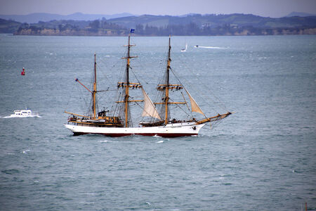 barque: AUCKLAND-October 25: Tall ship, a completed barque named Picton Castle of Canada sailing in from Australia arriving in Waitemata Harbour in Auckland, New Zealand on Friday October 25, 2013.