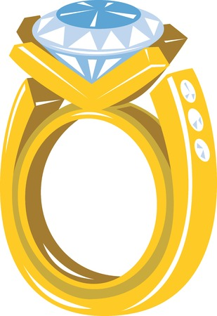 gold ring: Illustration of a diamond gold ring on isolated white background. Illustration
