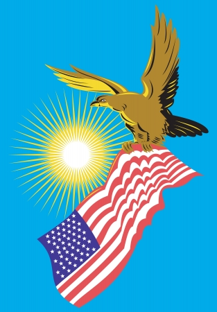 eagle flying: Illustration of a bald eagle flying with american stars stripes flag on isolated background done in retro style. Illustration