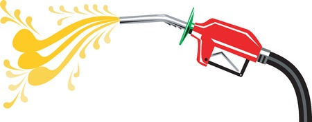 Illustration of a gas gasoline fuel pump nozzle with flowing oil done in retro style. Vector