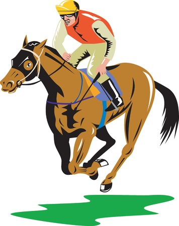 Illustration of a horse and jockey racing on isolated white background done in retro style.