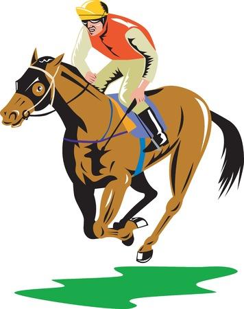 corse di cavalli: Illustrazione di un cavallo e fantino corse su sfondo bianco isolato fatto in stile retrò. Vettoriali