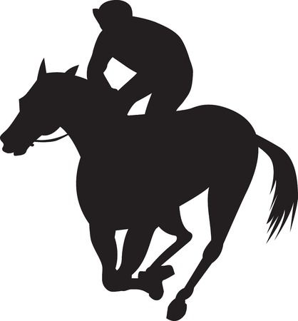 thoroughbred horse: Illustration of a horse and jockey racing silhouette on isolated white background done in retro style.