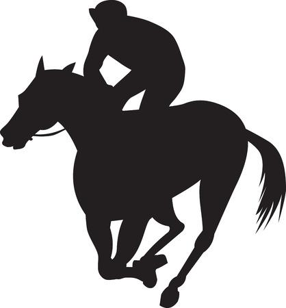 jockey: Ilustraci�n de un caballo y la silueta de jinete de carreras en el fondo blanco aislado hecho en estilo retro.