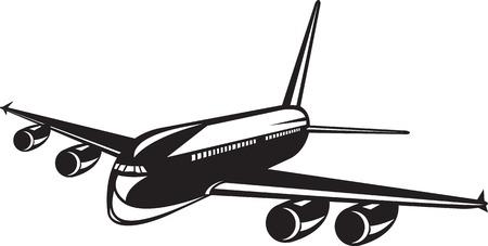 reise retro: Illustration eines kommerziellen Jet-Flugzeug Verkehrsflugzeug Silhouette auf weißem Hintergrund in retro Holzschnitt Stil getan.
