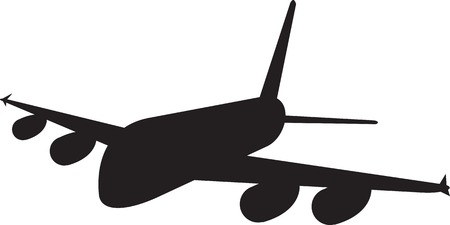 jumbo: Illustration of a commercial jet plane airliner silhouette on isolated background.